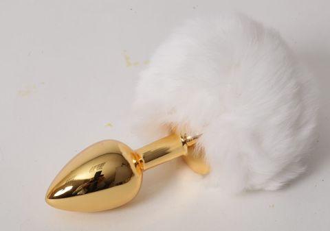 Золотистая анальная пробочка c белым хвостом  Задорный Кролик