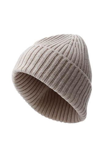 Женская шапка бежевого цвета из шерсти и кашемира - фото 1