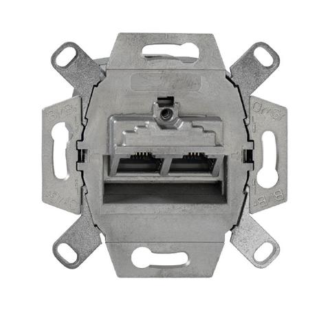 Механизм двойной компьютерной розетки розетки RJ45, категория 6е, неэкранированная. Цвет Естественный. ABB (АББ). 0230-0-0470