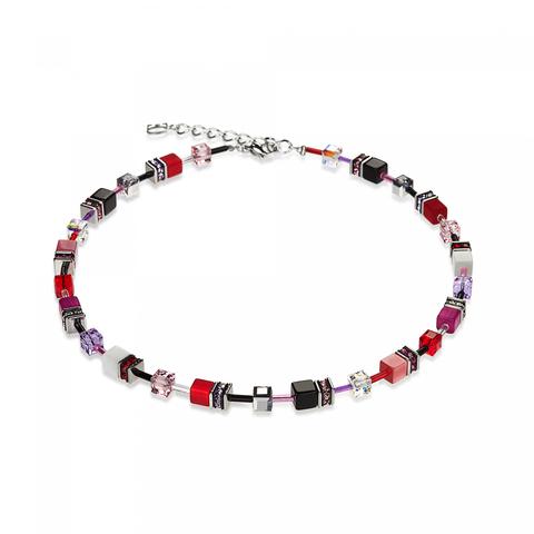 Колье Coeur de Lion 4524 цвет красный, розовый, чёрный, белый