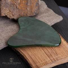 Скребок Гуаша из натурального нефрита, зеленый
