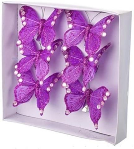 Набор бабочек с глиттером на прищепках 6шт., 6см, фиолетовый