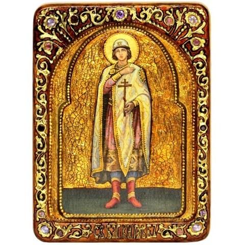 Инкрустированная живописная икона Святой благоверный князь Глеб 29х21см на натуральном дереве в подарочной коробке