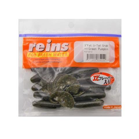Приманка силиконовая Reins Fat G-Tail Grub 3 (упак. 12 шт.) / 002 - Green Pumpkin