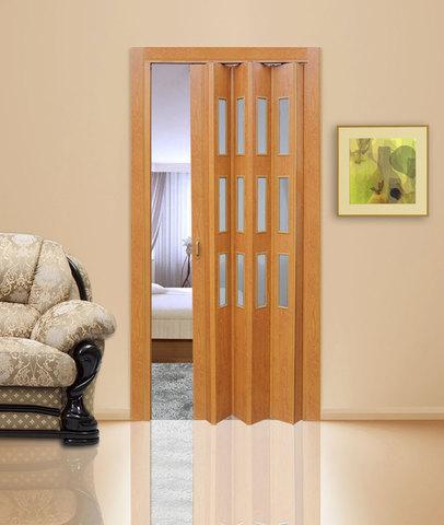 Дверь гармошка с витражами, цвет груша