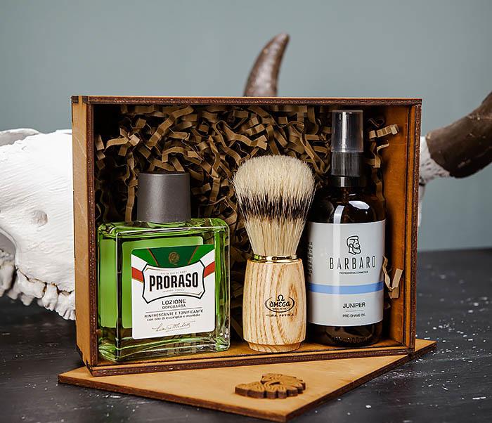 Подарочный набор для бритья: лосьон «PRORASO», масло для бритья и помазок