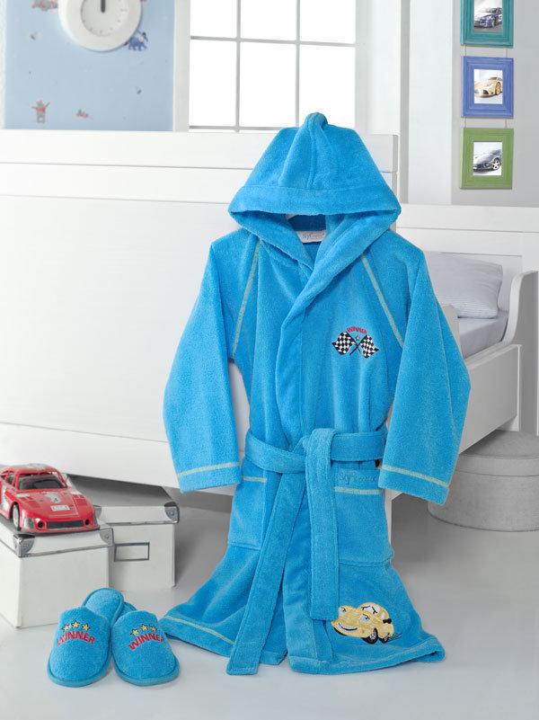 Халаты Халат детский махровый для мальчика с тапочками  PILOT ПИЛОТ голубой / Soft Cotton (Турция) Pilot_голубой.jpg