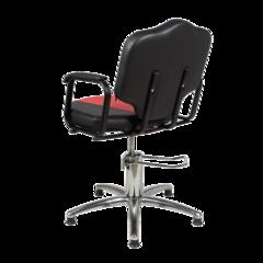 Парикмахерское кресло Мона эконом пневматика хром, пятилучье хром на подпятниках