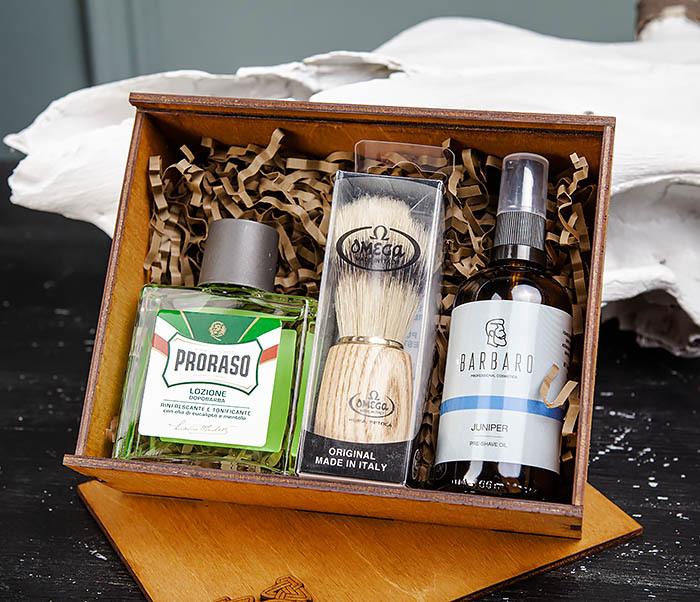 Подарочный набор для бритья: лосьон «PRORASO», масло для бритья и помазок фото 02