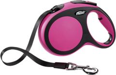 Поводок-рулетка Flexi New Comfort L (до 50 кг) лента 8 м черный/розовый