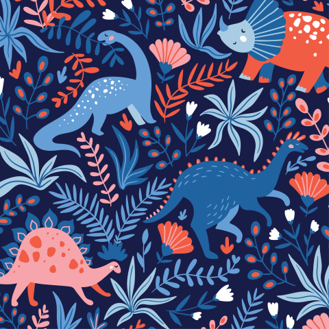 Динозавры на синем фоне