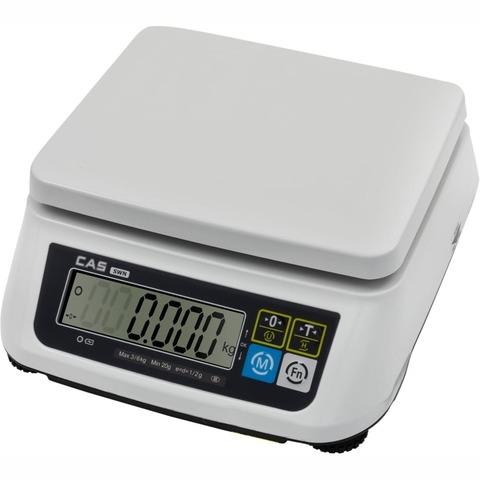 Купить Весы фасовочные настольные CAS SWN-03, LCD, АКБ, RS232/USB (опция), 3кг, 0,5/1гр, 226x187, с поверкой, без стойки. Быстрая доставка