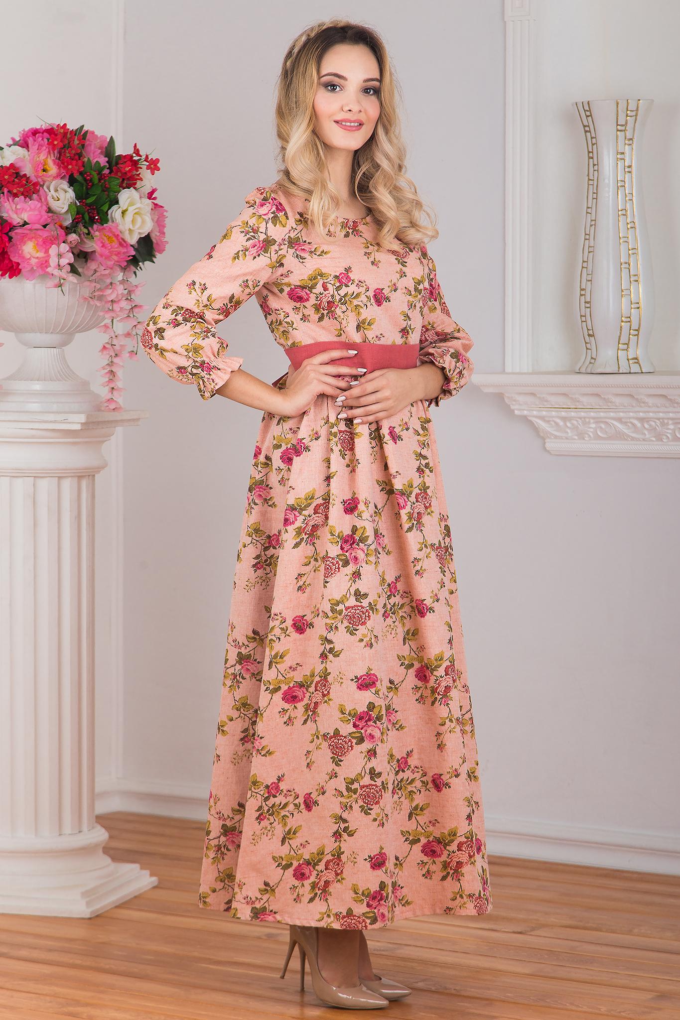 Платье Персиковое вид сбоку
