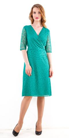 Фото бирюзовое платье с эффектом запаха по лифу и v-образным вырезом - Платье З251а-481 (1)