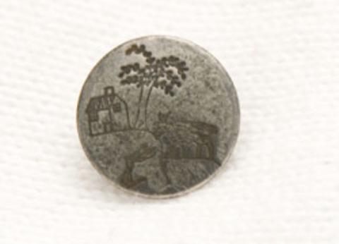 Пуговица металлическая, с козой, деревом и домиком, цвет чернёное серебро, 15 мм