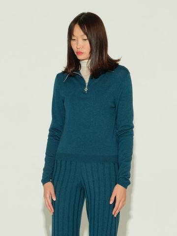 Женский джемпер темно-изумрудного цвета из шерсти и шелка - фото 2