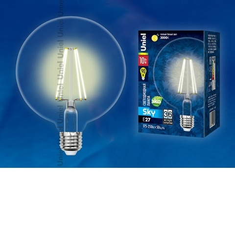 Лампа светодиодная UNIEL LED-G125-10W/WW/E27/CL