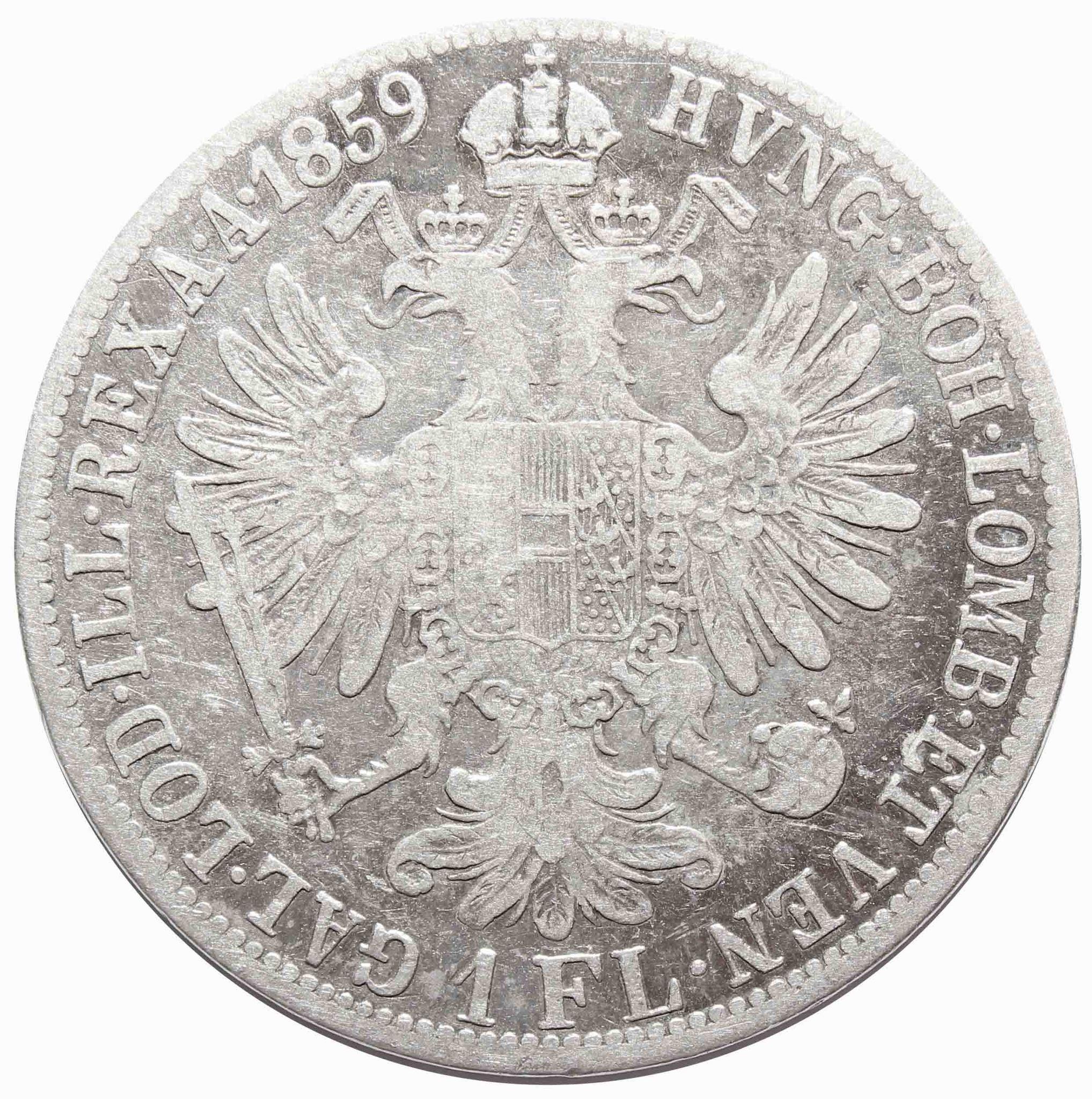 1 флорин 1859 год, Австрия. VF