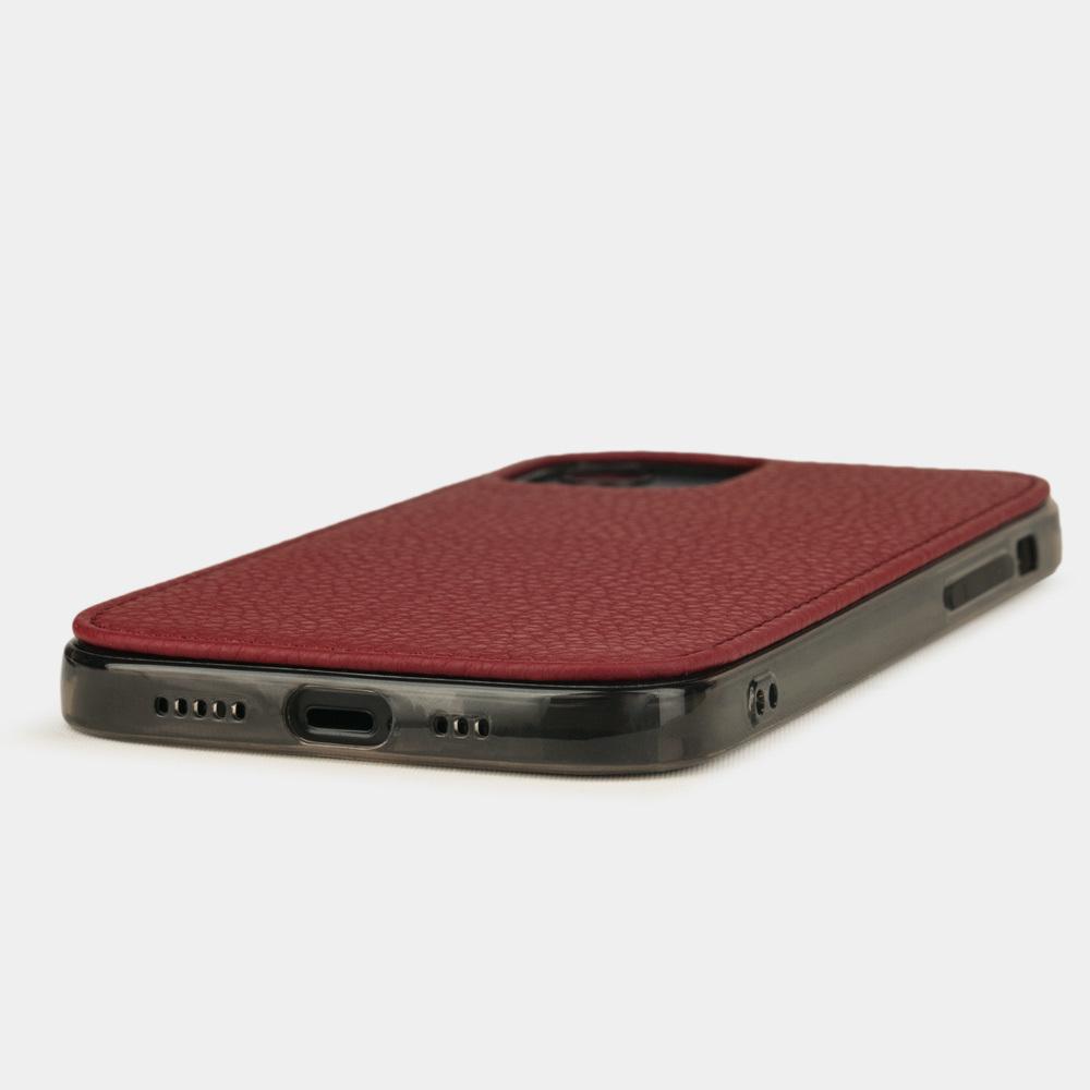 Чехол-накладка для iPhone 12/12Pro из натуральной кожи теленка, вишневого цвета