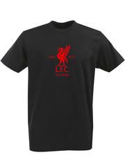 Футболка с однотонным принтом FC Liverpool (ФК Ливерпуль) черная 009