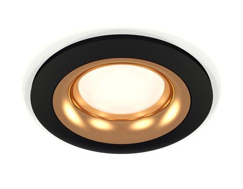 Комплект встраиваемого светильника XC7622005 SBK/PYG черный песок/золото желтое полированное MR16 GU5.3 (C7622, N7014)