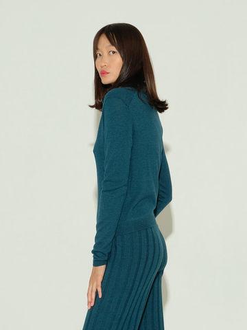 Женский джемпер темно-изумрудного цвета из шерсти и шелка - фото 4