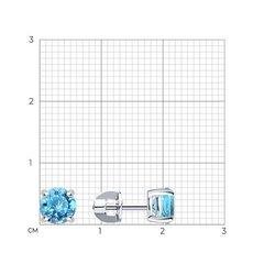 94020532 - Серьги-пусеты из серебра с голубыми фианитами