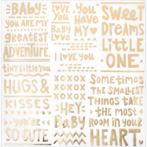 Лист веллума  30*30 см  с золотым тиснением Little you by Crate Paper