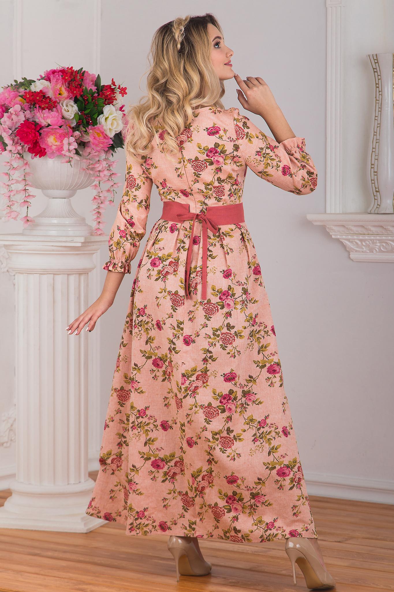 Платье Персиковое вид сзади