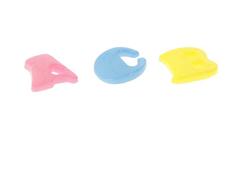 Буквы пластиковые разноцветные, 1,3*1 см, нбор 20 шт.
