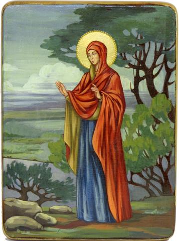 Подарочная живописная икона Святая праматерь Ева 29х21см на кипарисе
