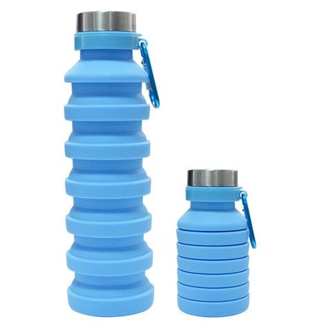 Бутылка для воды силиконовая складная с карабином 550 мл голубая