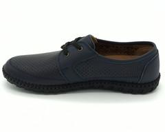 Синие кожаные полуботинки  на шнуровке