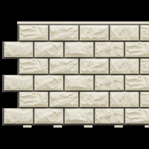 Фасадные панели (Цокольный Сайдинг) Доломит Альпийский Прокрашенный Слоновая кость