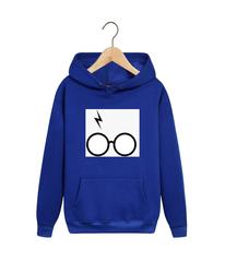 Толстовка синяя с капюшоном (худи, кенгуру) и принтом Гарри Поттер (Harry Potter) 001