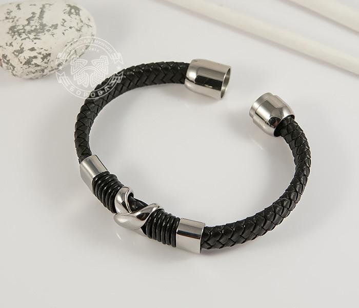 BM372 Стильный мужской браслет из стали и кожаного шнура на застежке с магнитом (21 см) фото 02