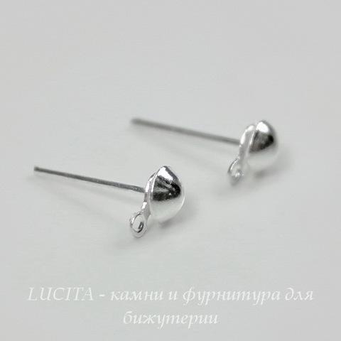 Пуссеты - гвоздики 7х4 мм с петелькой (цвет - серебро) 5 пар (с заглушками) ()