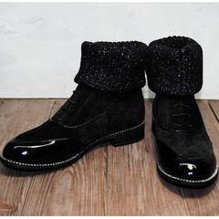 Женские замшевые ботинки на шнурках Kluchini 5161 k255 Black