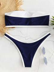 купальник раздельный бандо синий спортивный sport dark blue 2