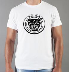 Футболка с принтом Ягуар (Jaguar) белая 004