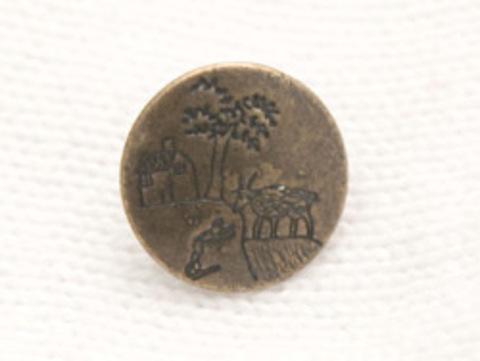 Пуговица металлическая, с козой, деревом и домиком, цвет бронзовый, 15 мм
