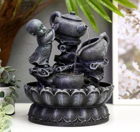 Фонтан настольный от сети, подсветка Маленький Будда с чайником