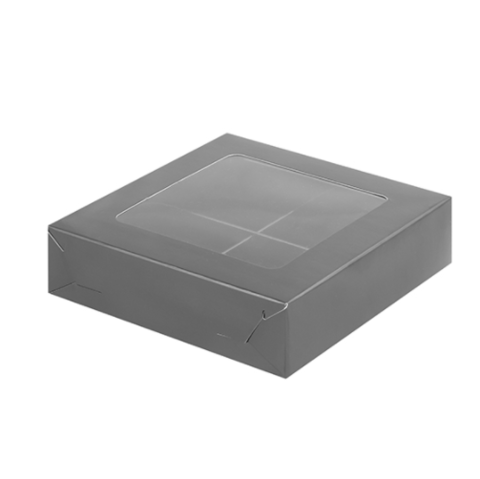 Коробка для конфет (на 4шт), 12*12*3см, (черная матовая)