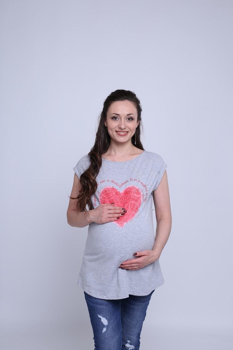 Футболка для беременных 08628 серый меланж