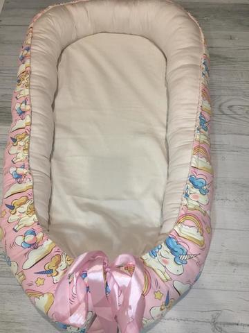Гнездышко-кокон цвет розовый/единороги