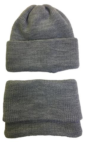Комплект шапка и шарф - труба, цвет - серый меланж