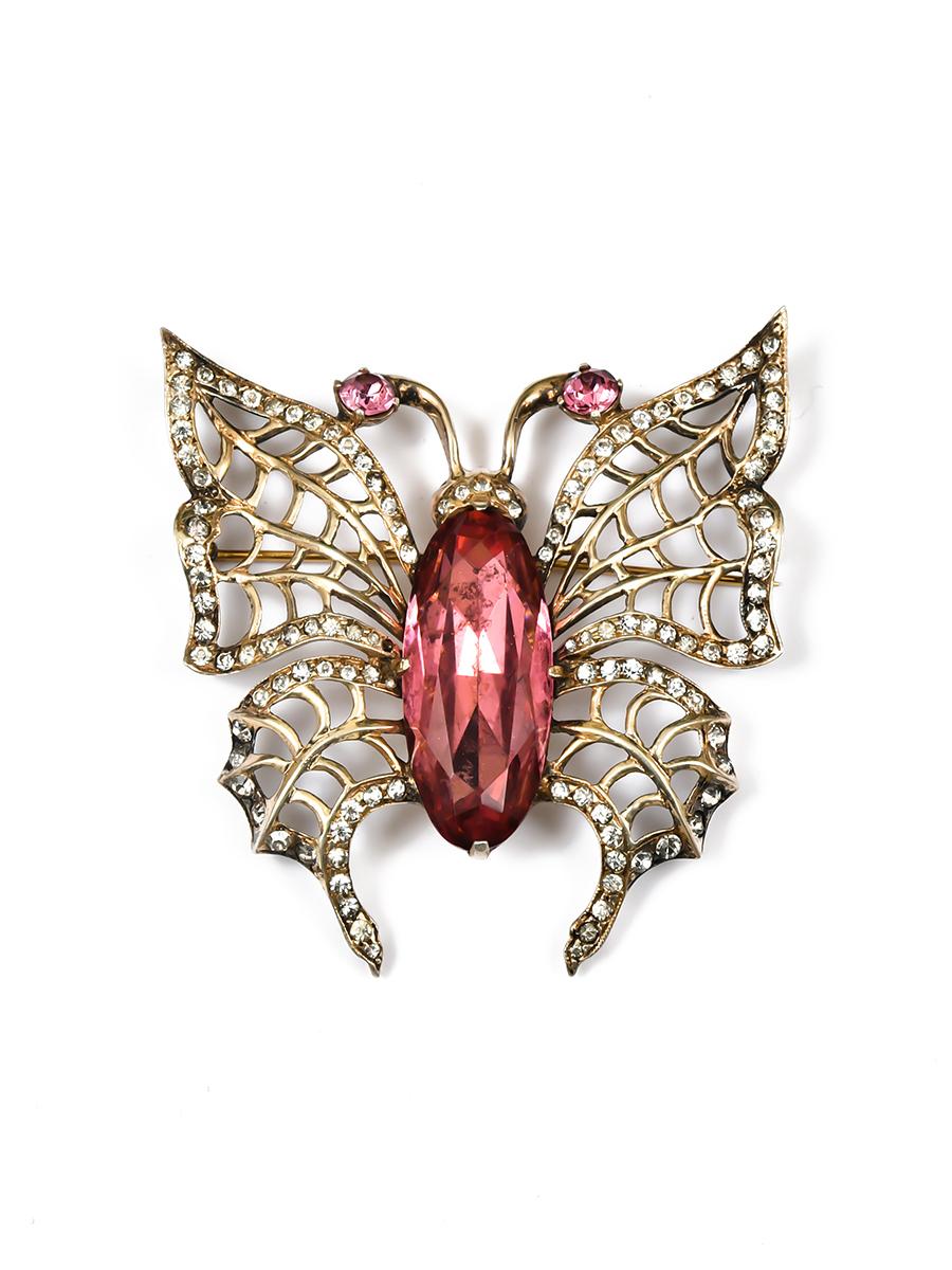 """Серебряная брошь """"Бабочка"""" с розовыми кристаллами Eisenberg 1940-e"""