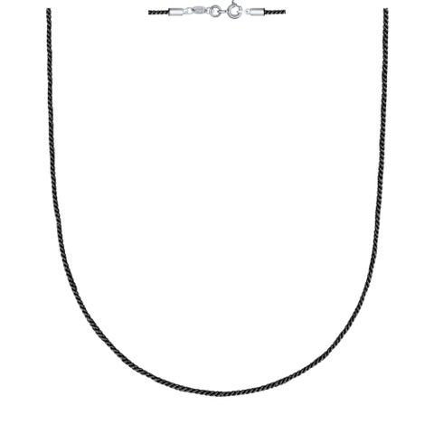 94070147- Текстильный шнур-черный для подвесок с замочками из  серебра