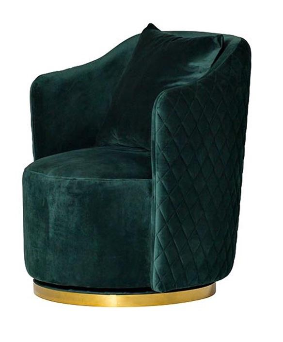 Кресло вращающееся зеленое велюровое (48MY-2573 GRN GLD) Garda Decor