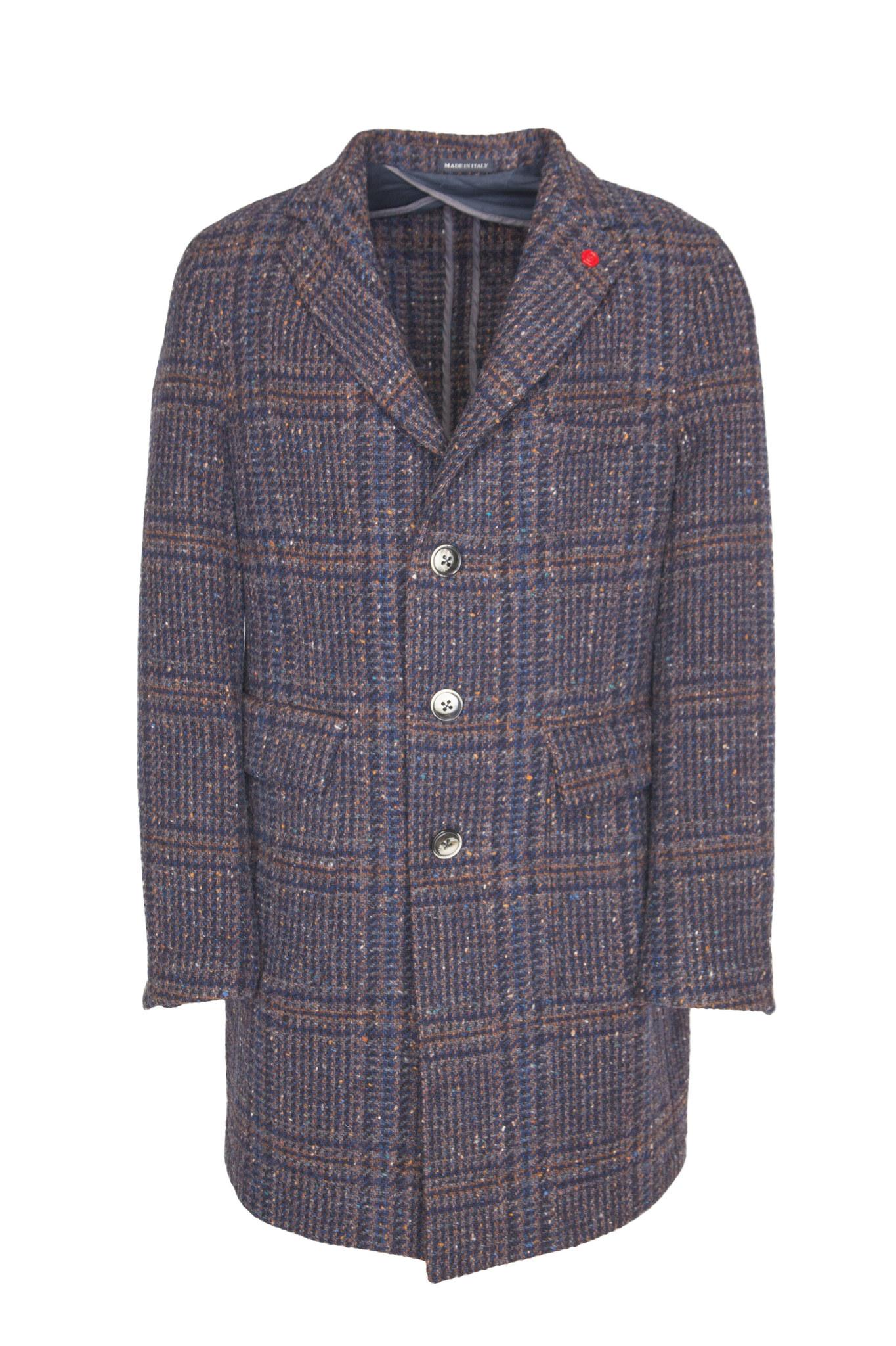 Классическое синее пальто узкого кроя из натуральной шерсти в шотландскую клетку